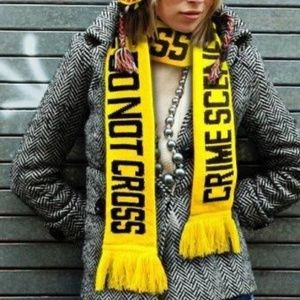 Crime Scene Yellow & Black Knitted Scarf